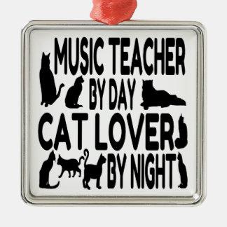 Ornement Carré Argenté Professeur de musique d'amoureux des chats