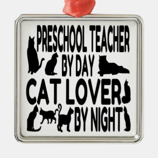 Ornement Carré Argenté Professeur d'école maternelle d'amoureux des chats