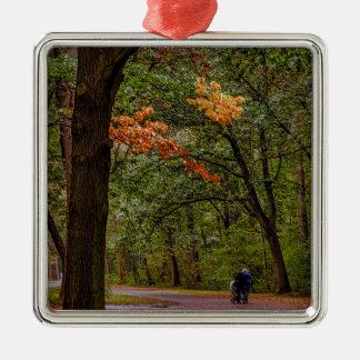 Ornement Carré Argenté Promenade d'automne