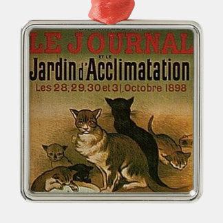 Ornement Carré Argenté Publicité française vintage - chats