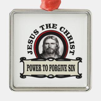 Ornement Carré Argenté puissance de pardonner le jc de péché