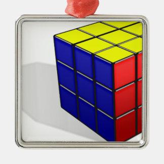 Ornement Carré Argenté Puzzle de cube