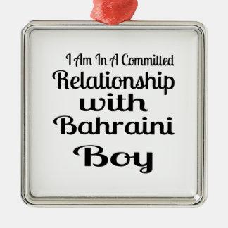 Ornement Carré Argenté Rapport avec le garçon bahreinite
