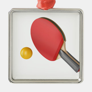 Ornement Carré Argenté Raquette et boule de ping-pong