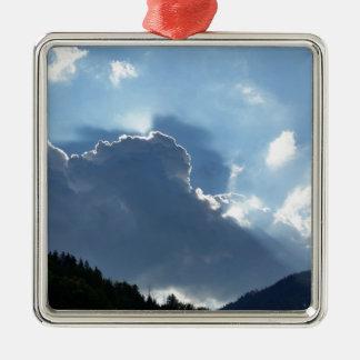 Ornement Carré Argenté rayons et nuages