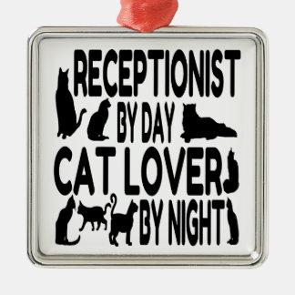 Ornement Carré Argenté Réceptionniste d'amoureux des chats