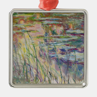 Ornement Carré Argenté Réflexions de Claude Monet | sur l'eau, 1917