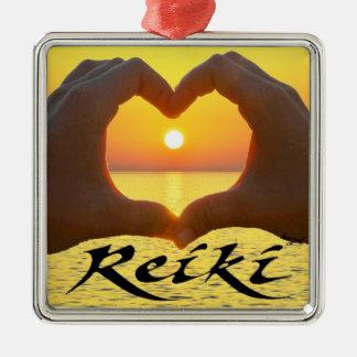 Ornement Carré Argenté Reiki, coeur, mains, Sun, énergie curative,