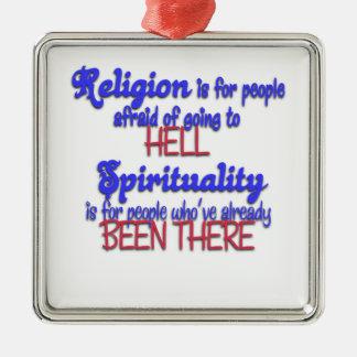 Ornement Carré Argenté Religion CONTRE la spiritualité