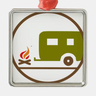 Ornement Carré Argenté Remorque et feu de camp du camping rv