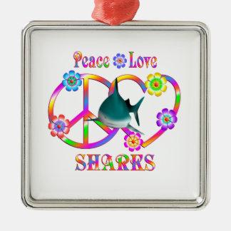 Ornement Carré Argenté Requins d'amour de paix
