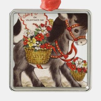 Ornement Carré Argenté Rétro petite Saint-Valentin douce vintage d'âne