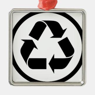 Ornement Carré Argenté Réutilisez le symbole