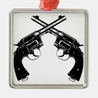 Ornement Carré Argenté Revolvers croisés