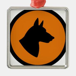 Ornement Carré Argenté Risque de chien