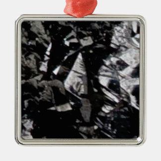 Ornement Carré Argenté roche noire de lustre