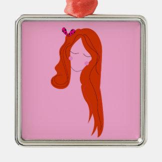 Ornement Carré Argenté Rose de femme de mode avec de longs cheveux