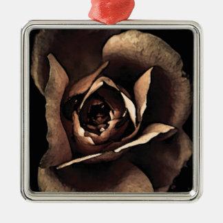 Ornement Carré Argenté rose gris pâle fashion flower