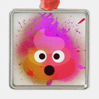Ornement Carré Argenté Rose/pourpre de peinture de jet de dunette d'Emoji