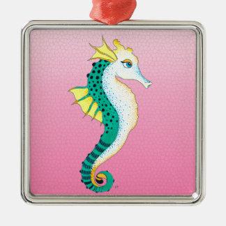 Ornement Carré Argenté rose turquoise d'hippocampe