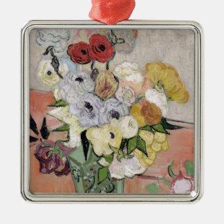 Ornement Carré Argenté Roses de Vincent van Gogh | et anémones, 1890