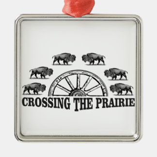 Ornement Carré Argenté roue de bison croisant les plaines