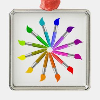 Ornement Carré Argenté Roue de couleur de pinceau, théorie de couleur de