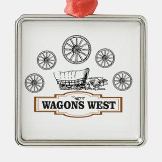 Ornement Carré Argenté roues occidentales d'ot de chariots