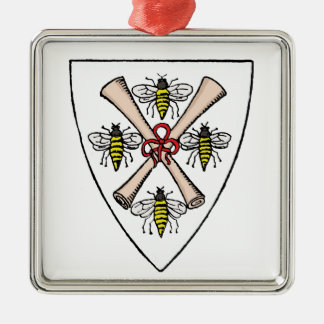 Ornement Carré Argenté Rouleaux héraldiques d'abeilles du cru 4 sur le