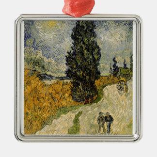 Ornement Carré Argenté Route de Vincent van Gogh | avec des cyprès, 1890