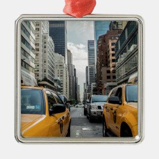 Ornement Carré Argenté Route Nyc de rue de New York de cabine du trafic