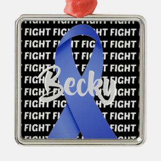 Ornement Carré Argenté Ruban bleu de cancer du colon de combat