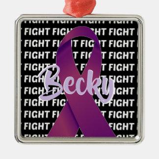 Ornement Carré Argenté Ruban de pourpre de Cancer pancréatique de combat
