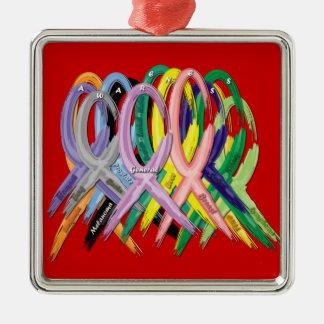 Ornement Carré Argenté Rubans multicolores pour l'ornement de conscience