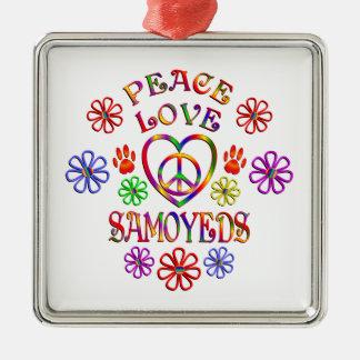 Ornement Carré Argenté Samoyeds d'amour de paix
