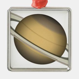 Ornement Carré Argenté Saturn