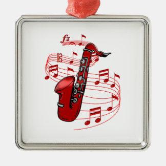 Ornement Carré Argenté Saxo rouge avec des notes de musique