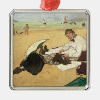 Ornement Carré Argenté Scène de plage d'Edgar Degas  