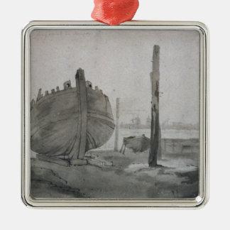 Ornement Carré Argenté Scène de rivière de John Constable | avec le