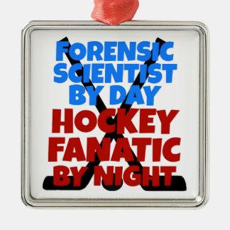 Ornement Carré Argenté Scientifique légal d'amant d'hockey