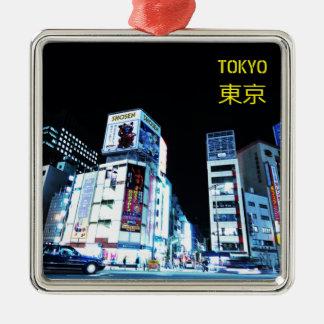 Ornement Carré Argenté Secteur de Ginza à Tokyo, Japon la nuit