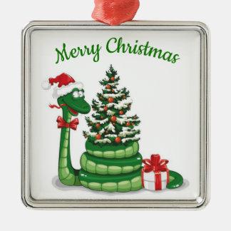 Ornement Carré Argenté Serpent de Noël