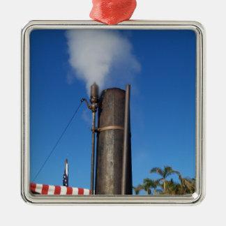 Ornement Carré Argenté Sifflement de vapeur démodé