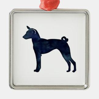 Ornement Carré Argenté Silhouette d'aquarelle de noir de chien de Basenji