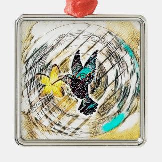 Ornement Carré Argenté Silhouette de colibri