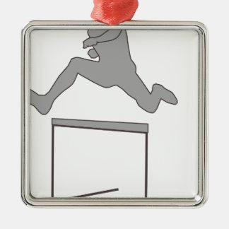 Ornement Carré Argenté Silhouette de course d'obstacles