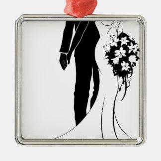 Ornement Carré Argenté Silhouette de jeunes mariés de concept de mariage