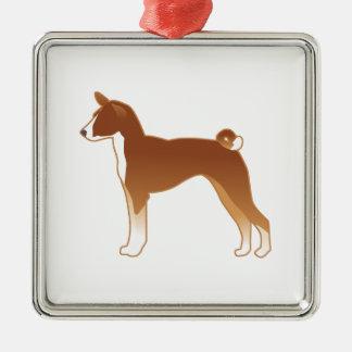 Ornement Carré Argenté Silhouette d'illustration de race de chien de
