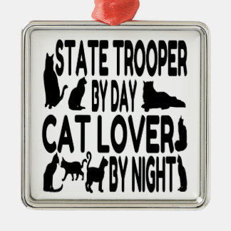 Ornement Carré Argenté Soldat de la cavalerie d'état d'amoureux des chats