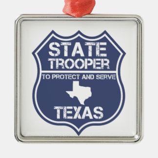 Ornement Carré Argenté Soldat de la cavalerie d'état du Texas à protéger